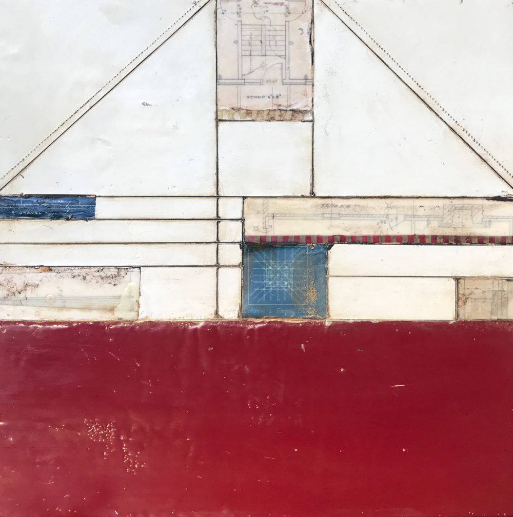 Vintage Plans Encaustic Painting by Heather Davis